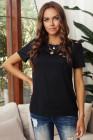 Camiseta de mezcla de algodón con cuello redondo y agujeros negros