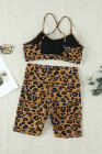 Leopard Print Sports Bra Shorts Set