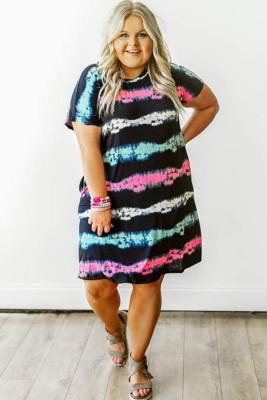 فستان صغير الحجم مصبوغ بالرباط مخطط
