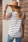 Camiseta de rayas con manga volante de leopardo