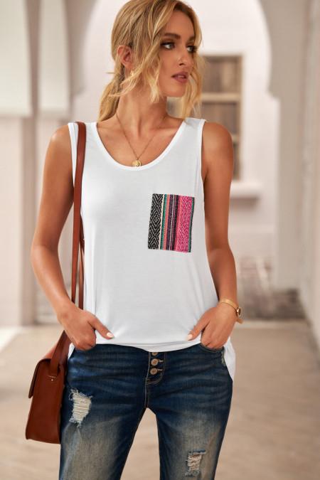 Débardeur blanc décontracté pour femmes avec poche multicolore