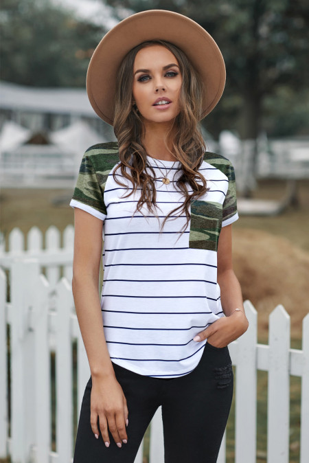 Green Striped Camo Pocketed Patch Tee