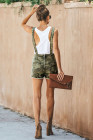 Green Captain Cotton Camo Pocketed Overall Shorts