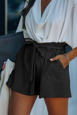 Shorts de punto con bolsillos de mezcla de algodón negros