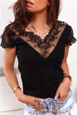 Black Lace V Neck Short Sleeves Top