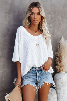 White V Neck Short Sleeve Knit Tee