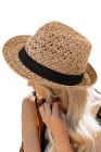 أزياء واسعة حافة قبعة القش الشمس أقنعة