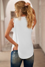 White Sleeveless Eyelash Lace V Neck Tank Top
