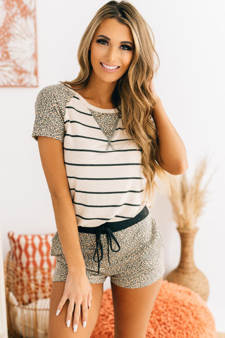 Leopard Striped Tee and Drawstring Shorts Lounge Set