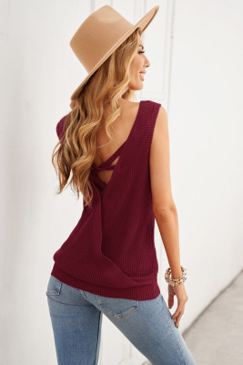 Wine Red Crisscross Hollow-out Knit Tank Top