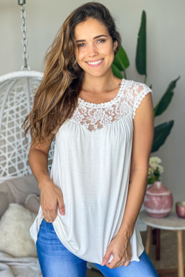 White Sleeveless Top with Lace Detail