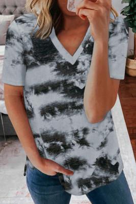 Серая футболка с V-образным вырезом с принтом тай-дай