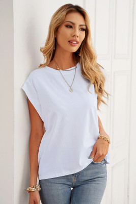 White Cotton Blend Round Neck Tee