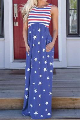 Robe longue sans manches à rayures et étoiles bleues avec poches