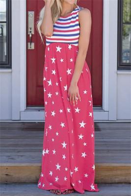 Robe longue sans manches à rayures rouges et étoiles avec poches