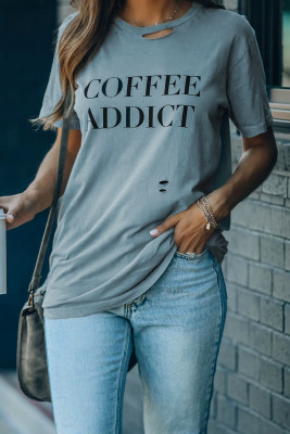 Camiseta envejecida con estampado COFFEE ADDICT