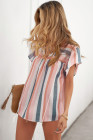 Top de manga corta plisado con volantes y cuello dividido multicolor a rayas