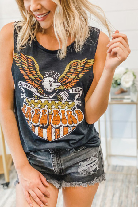 Free Bird camiseta sin mangas negra flameada