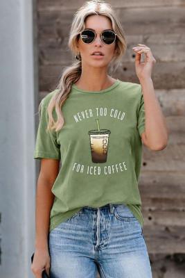 Camiseta verde NUNCA DEMASIADO FRÍO PARA EL CAFÉ HELADO