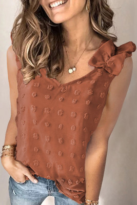 Brown Swiss Dot Woven Sleeveless Top With Ruffled Straps