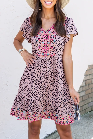 Embroidered Floral Cheetah Print Mini Dress