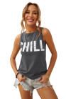 Camiseta sin mangas con estampado gráfico CHILL