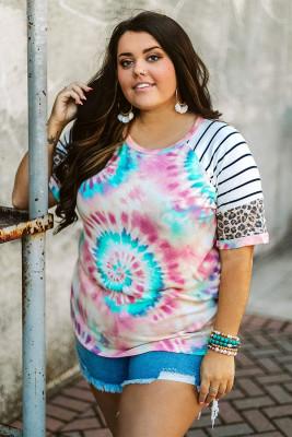 Camiseta de talla grande con manga raglán a rayas de leopardo y estampado tie-dye