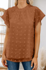 Brown Ruffled Sleeve Swiss Dot T-shirts