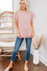 Blush Pink Ruffled Sleeve Swiss Dot T-shirts