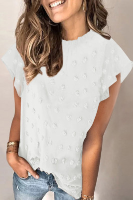 White Ruffled Sleeve Swiss Dot T-shirts