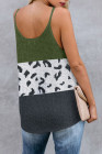 Green Colorblock Spotted Splicing Knit Tank