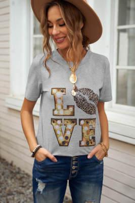 Серая футболка Valentine с круглым вырезом и мультяшными буквами