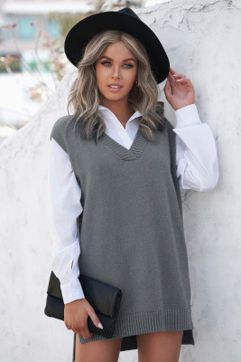 Gray Knit Vest Pullover Sweater