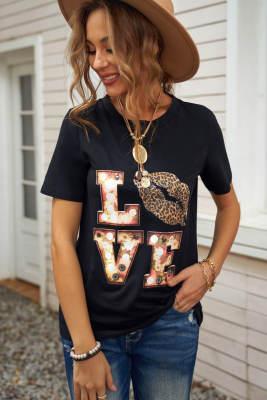 Черная футболка Valentine с круглым вырезом и мультяшными буквами