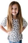 تي شيرت الفهد الأبيض للفتيات الصغيرات