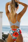 Floral and Striped Hollow Out One-piece Swimwear