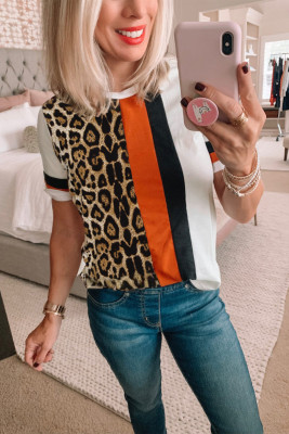 Leopard Colorblock Mixed Print T-shirt