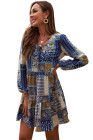Casual Neck Tie Vintage Printed Ethnic Style Loose Mini Dress
