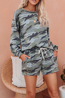 Green Camo Long Sleeve Pullover and Shorts Loungewear