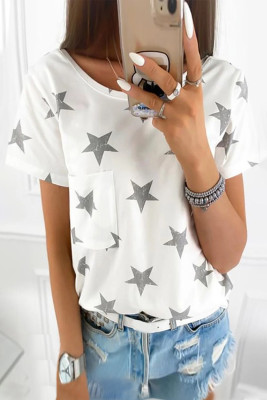 White Casual Star Pocket Tee