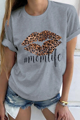 Leopard Lip Mom Life camiseta gris