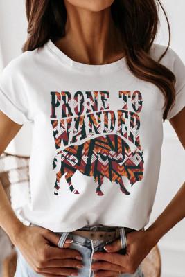 Camiseta blanca con estampado Western Desert Bull de Prone To Wander
