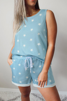 Light Blue Star Print Tank Top and Drawstring Shorts Lounge Set