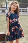 فستان زهري بأكمام قصيرة وجيوب للأطفال