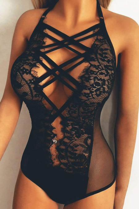 Black Strappy Lace Goth Teddy