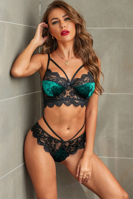 Green Strappy Lace Velvet Bralette Set
