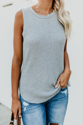 Camiseta sin mangas gris con cuello redondo y gofres