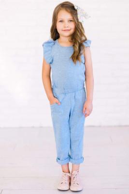 جمبسوت أزرق سماوي للفتيات الصغيرات مكشكش الكتف ذو فتحة المفتاح مع جيوب