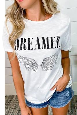 Camiseta blanca con estampado de alas de ángel DREAMER