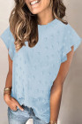 Sky Blue Ruffled Sleeve Swiss Dot T-shirts